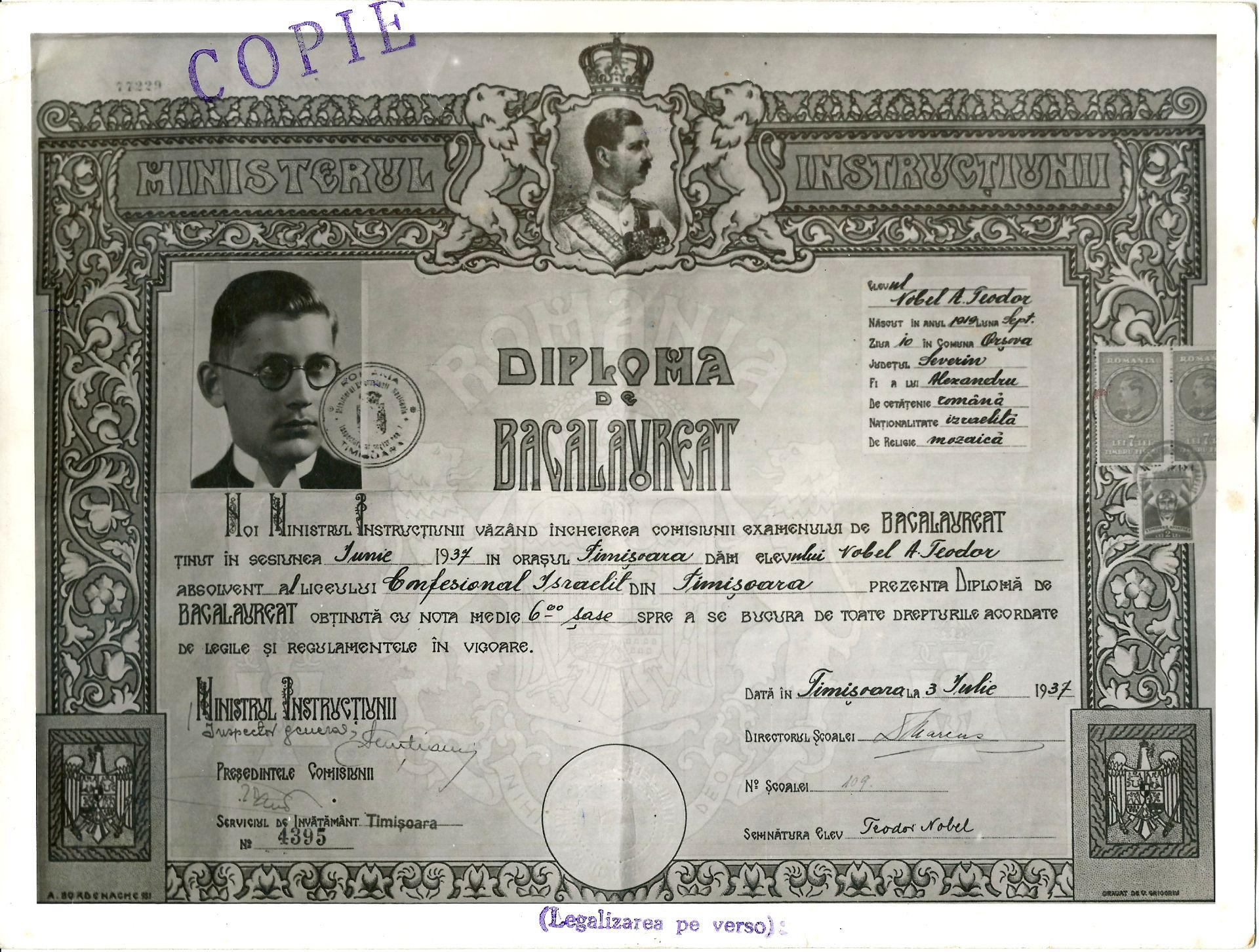 Diploma de Bacalaureat a lui Teodor Nobel