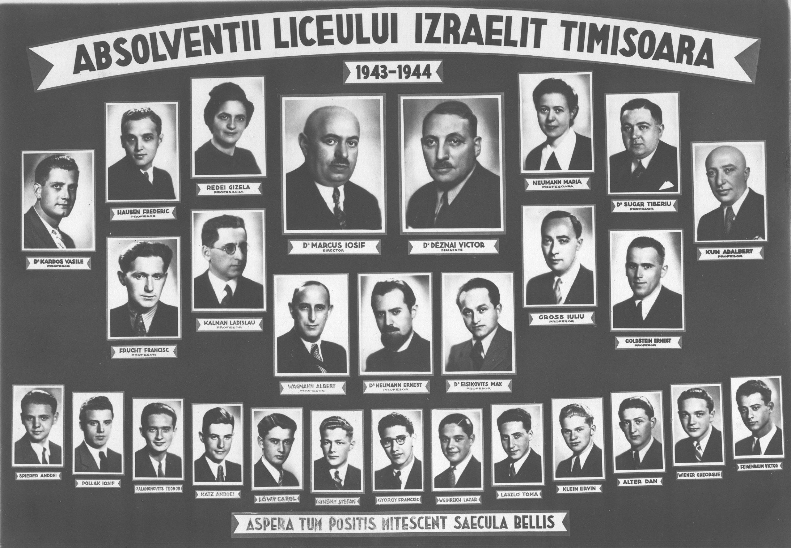 50 de ani de la bacalaureatul absolvenţilor Liceului Israelit din Timişoara seria 1936-1944