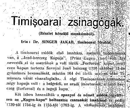Jakab Singer, Timisoarai zsinagógák